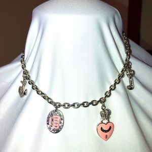 Vintage Juicy Couture 4 Charm Silver Necklace